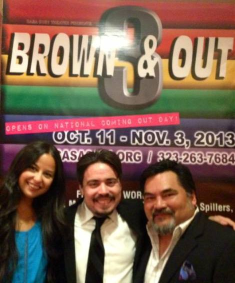 Nina Harada with Producer, Miguel Garcia and Director, Martin Morales at opening night of Brown & Out 3 at CASA0101